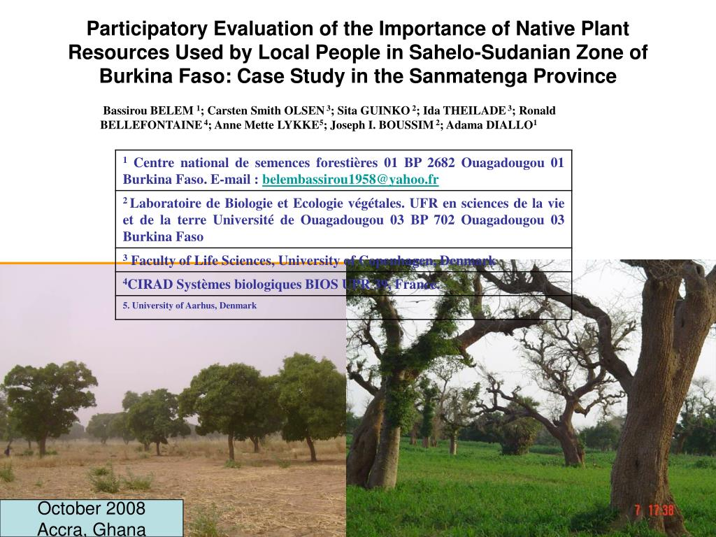 Participatory Evaluation of the Importance of Native Plant Resources Used by Local People in Sahelo-Sudanian Zone of Burkina Faso: Case Study in the Sanmatenga Province
