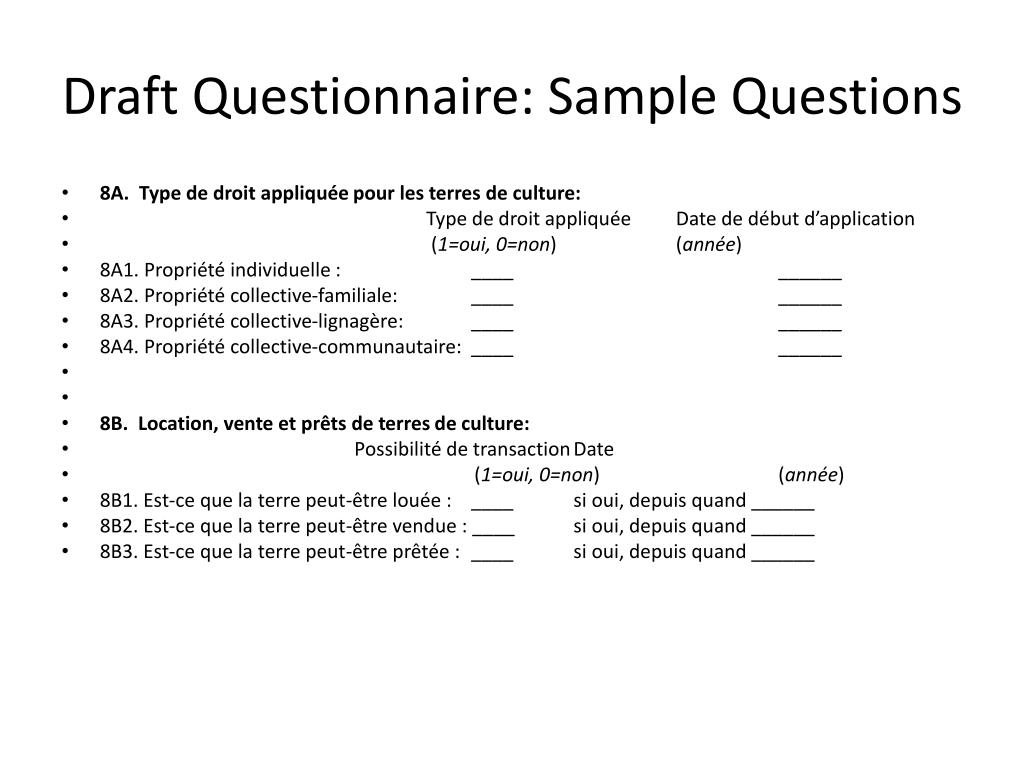 Draft Questionnaire: Sample Questions