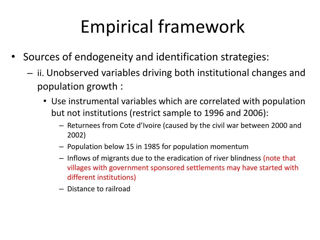 Empirical framework