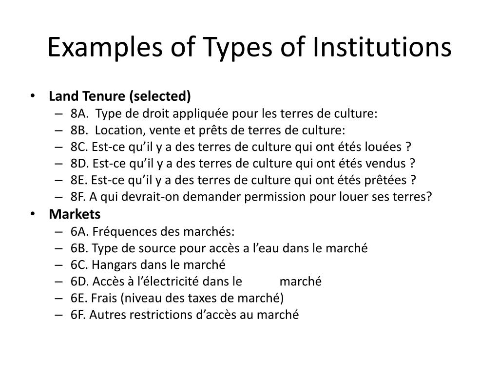 Examples of Types of Institutions