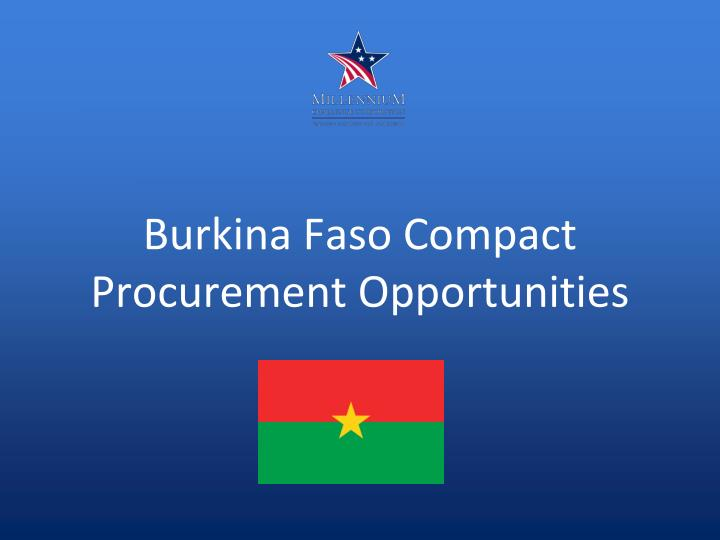 Burkina faso compact procurement opportunities