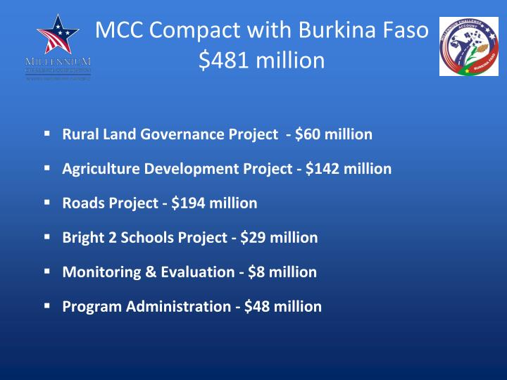 Mcc compact with burkina faso 481 million