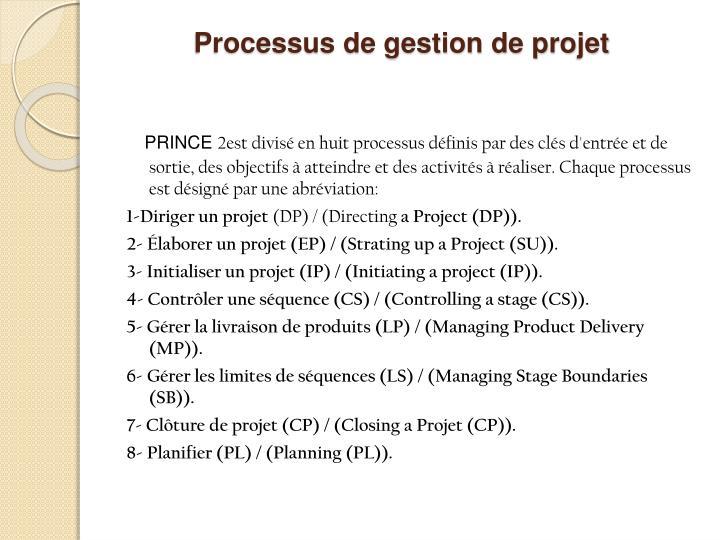 Processus de gestion de projet