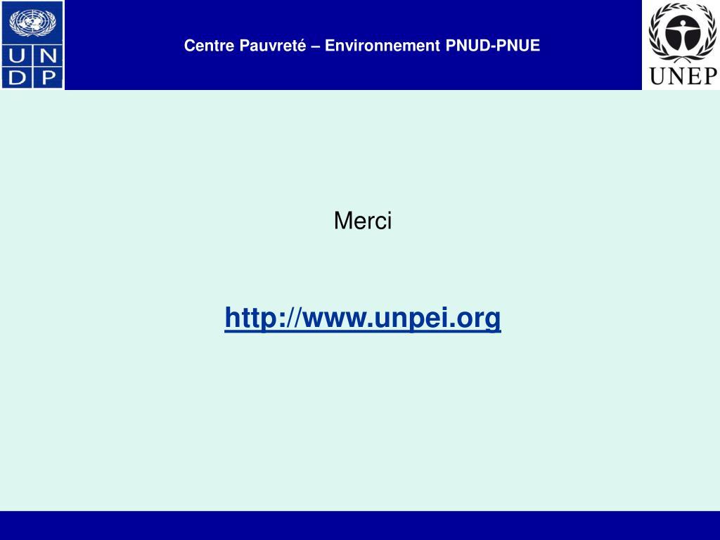 Centre Pauvreté – Environnement PNUD-PNUE