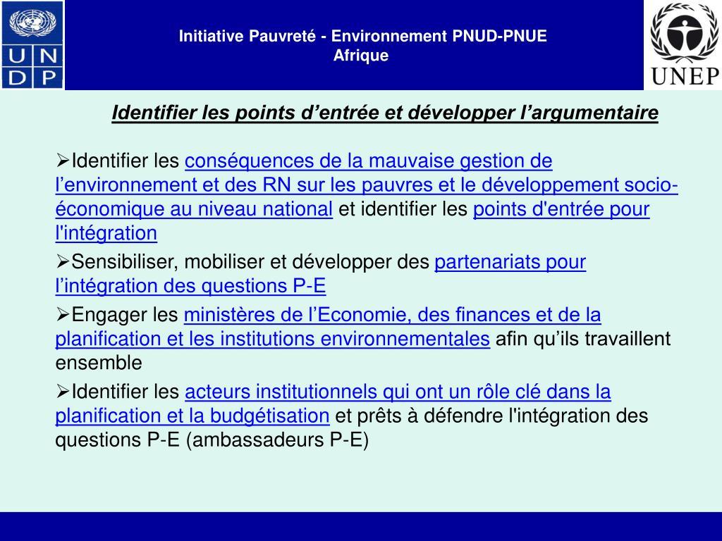Initiative Pauvreté - Environnement PNUD-PNUE