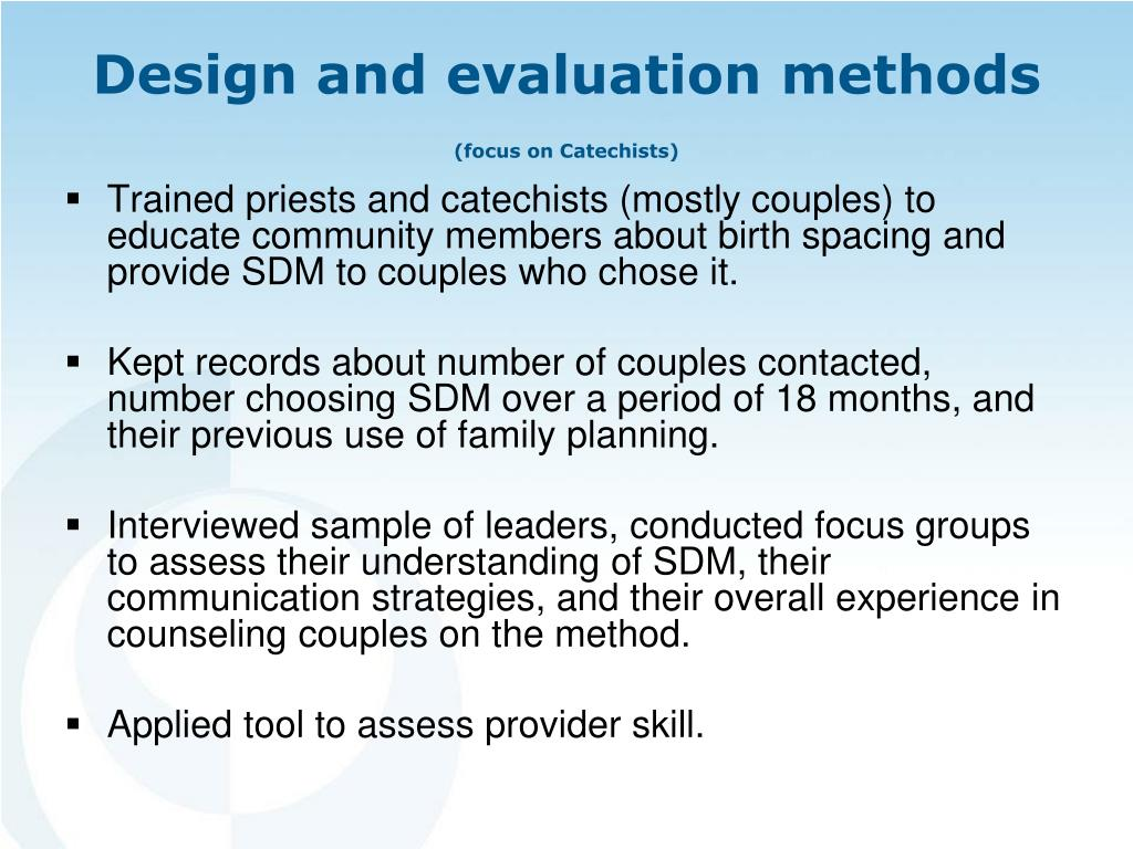 Trained priests and catechists (mostly couples) to educate community members about birth spacing and provide SDM to couples who chose it.