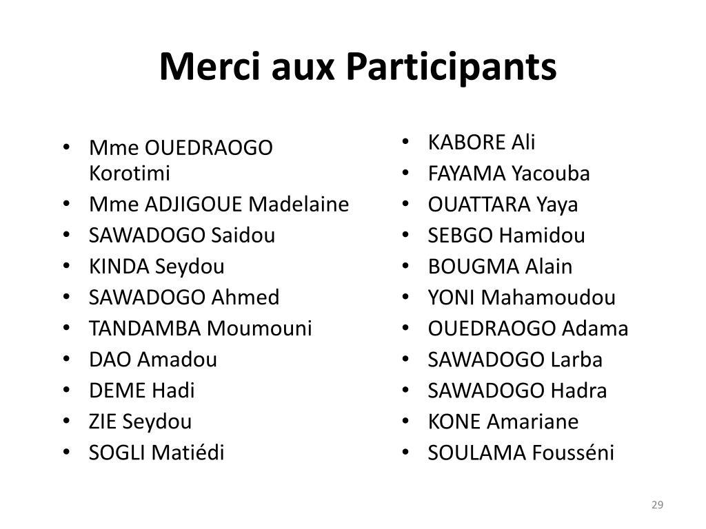 Merci aux Participants