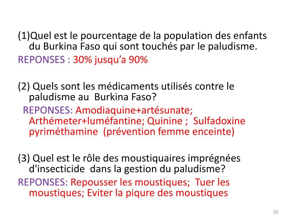 (1)Quel est le pourcentage de la population des enfants du Burkina Faso qui sont touchés par le paludisme.