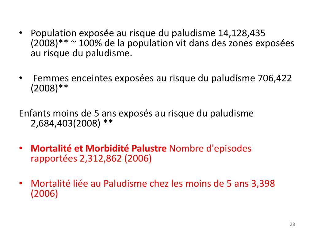 Population exposée au risque du paludisme 14,128,435 (2008)** ~ 100% de la population vit dans des zones exposées au risque du paludisme.