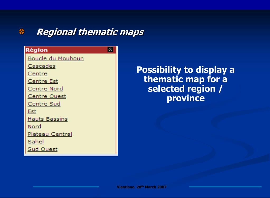 Regional thematic maps