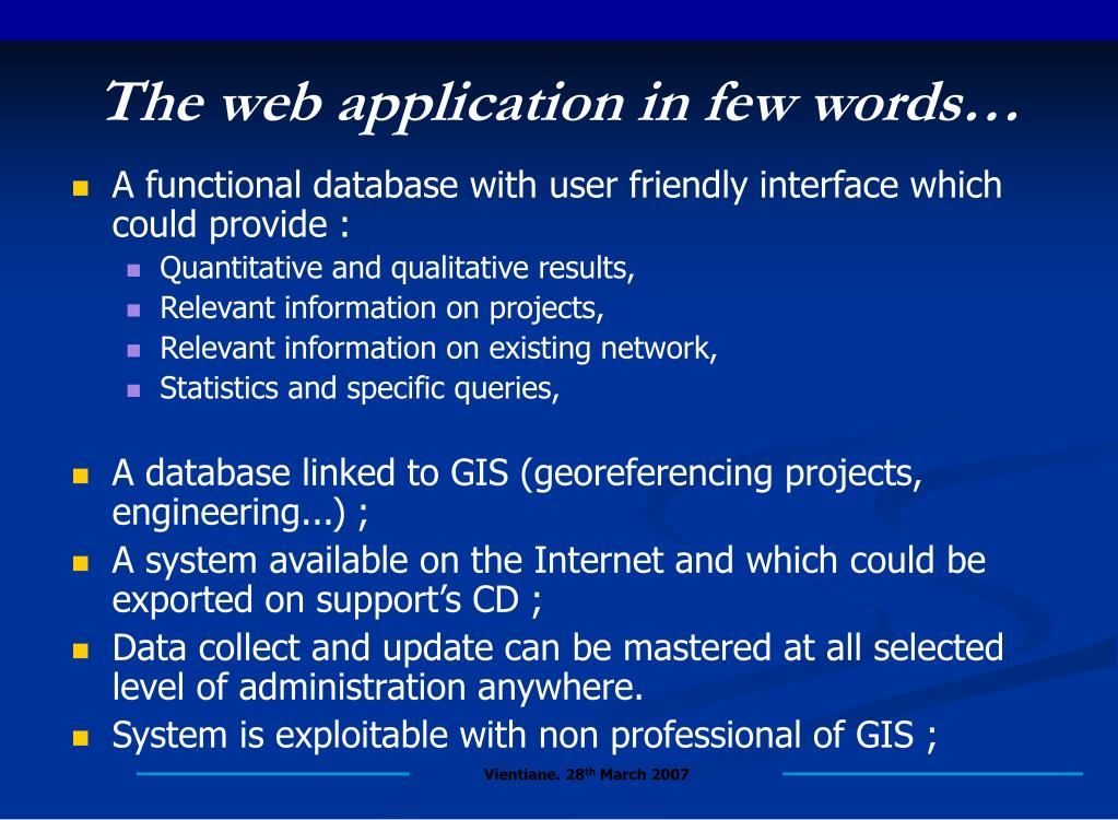 The web application in few words…