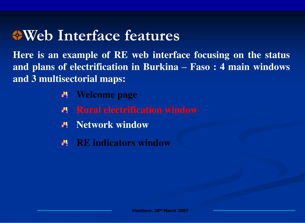 Web Interface features