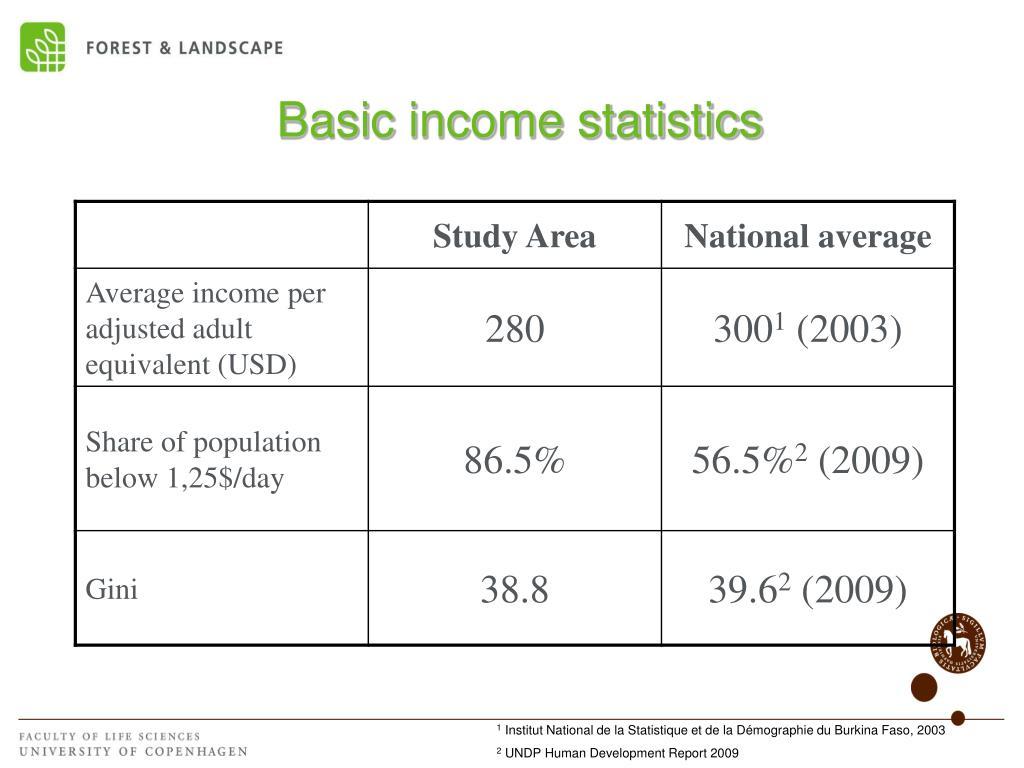 Basic income statistics
