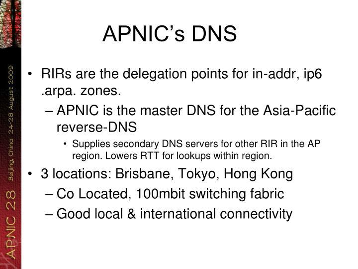 APNIC's DNS