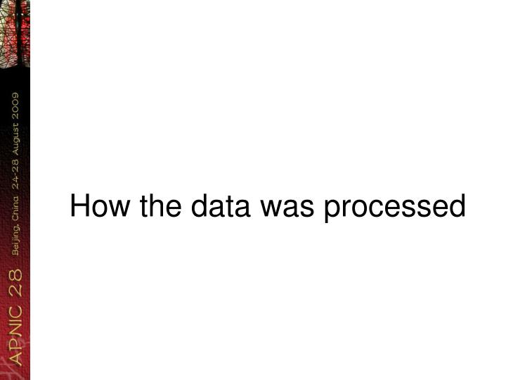 How the data was processed
