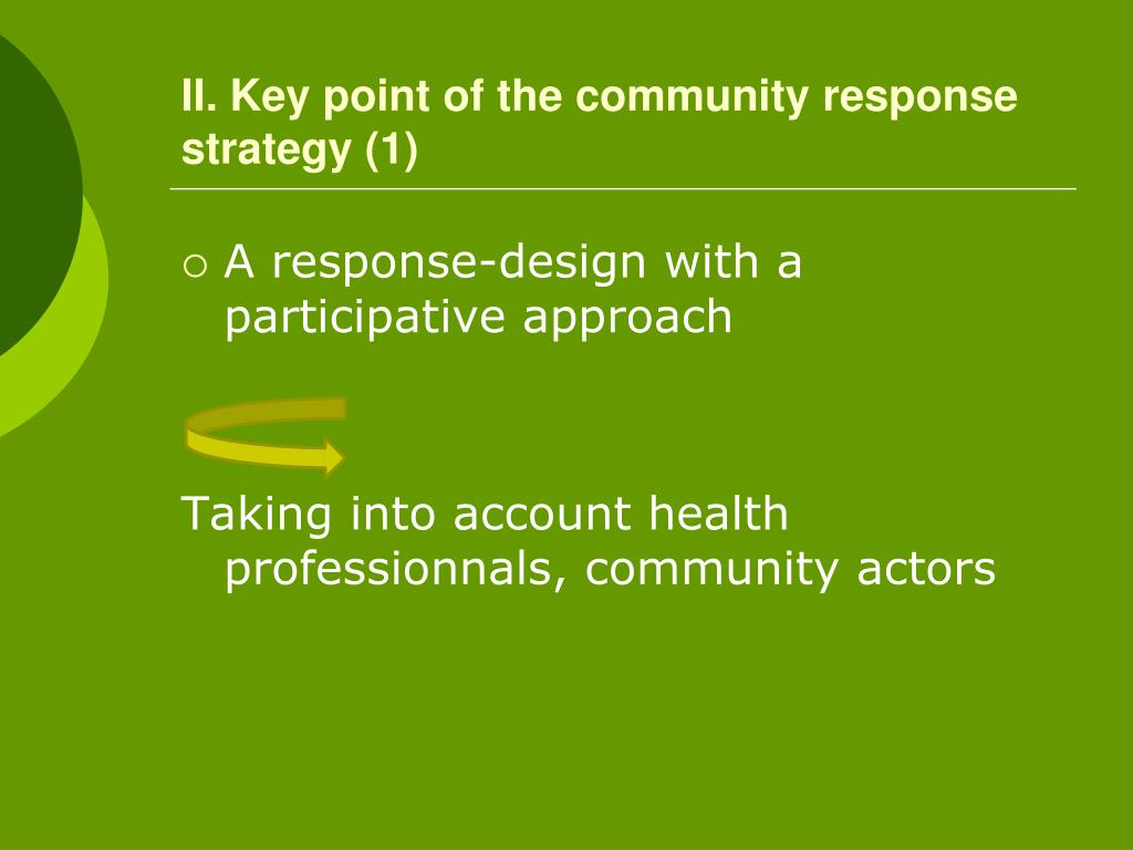 II. Key point of the community response strategy (1)