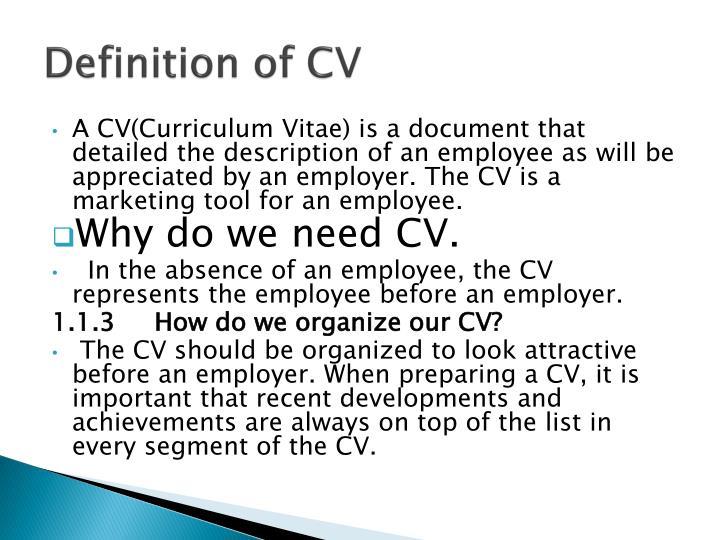 Definition of CV