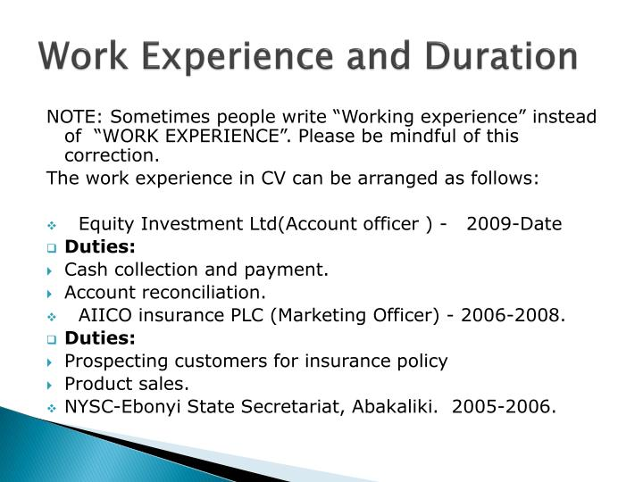 Work Experience and Duration
