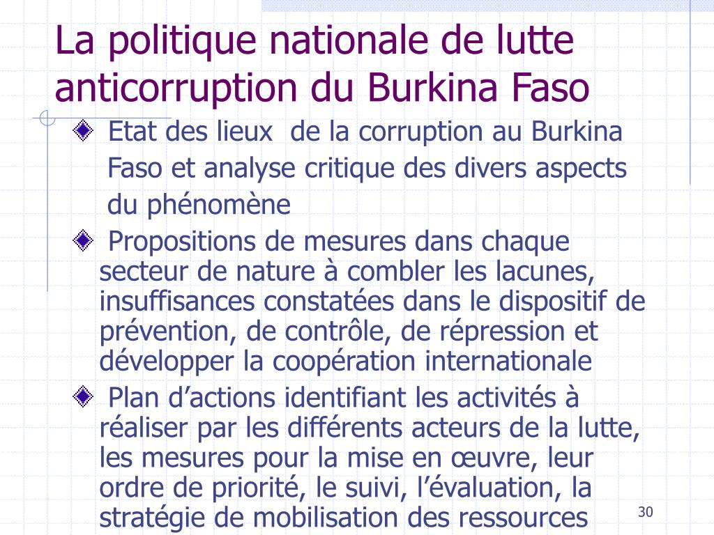 La politique nationale de lutte anticorruption du Burkina Faso