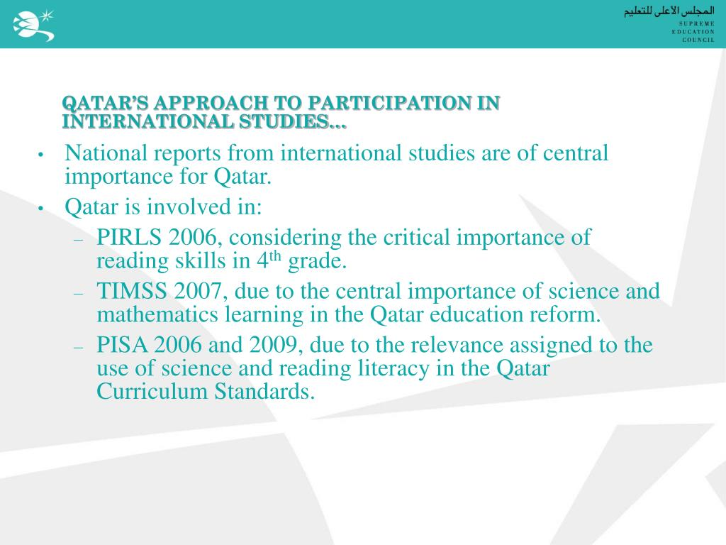 QATAR'S APPROACH TO PARTICIPATION IN INTERNATIONAL STUDIES…