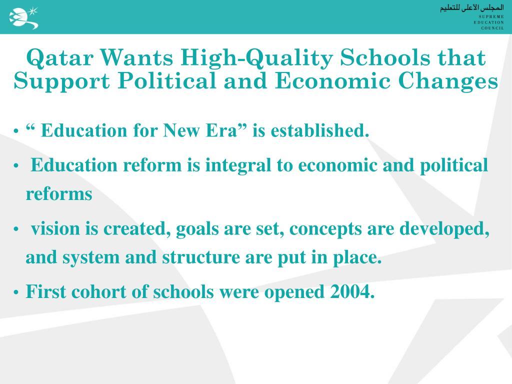 Qatar Wants High-Quality Schools that