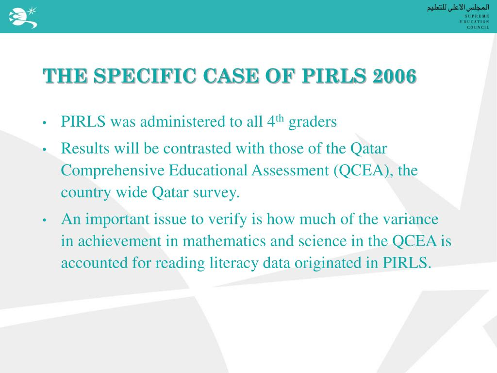THE SPECIFIC CASE OF PIRLS 2006