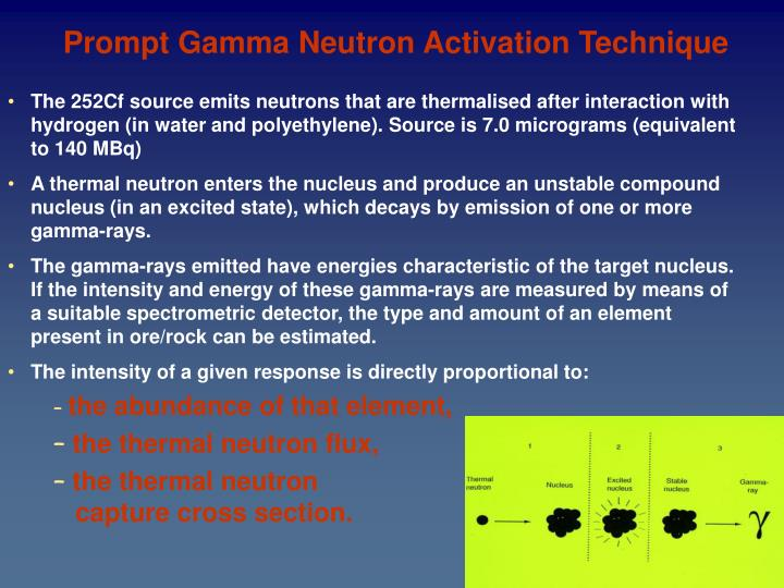 Prompt Gamma Neutron Activation Technique