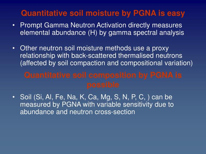 Quantitative soil moisture by PGNA is easy
