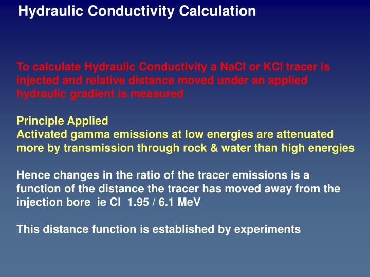 Hydraulic Conductivity Calculation
