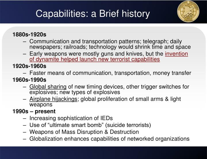 Capabilities: a Brief history