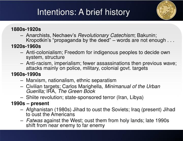 Intentions: A brief history