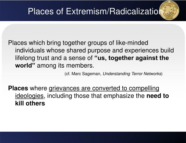 Places of Extremism/Radicalization