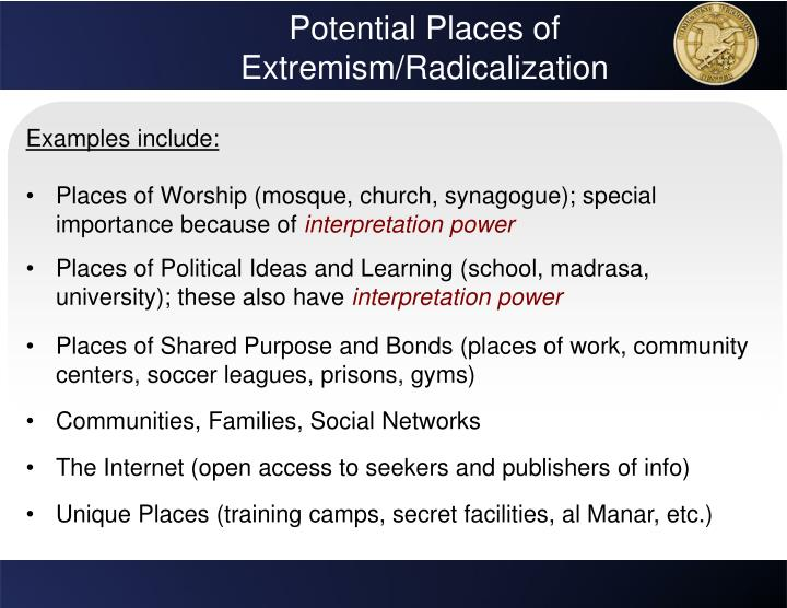 Potential Places of Extremism/Radicalization