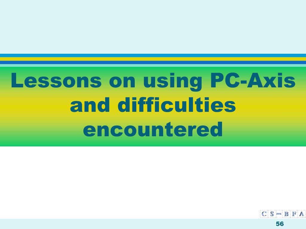 Lessons on using PC-Axis and difficulties encountered