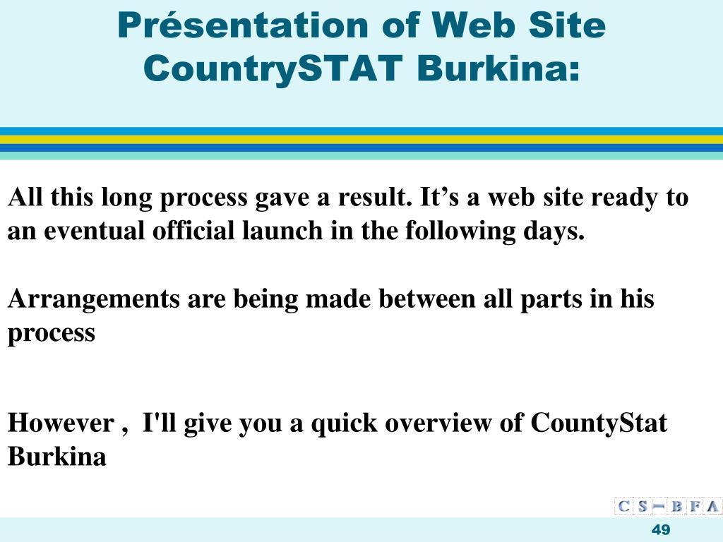 Présentation of Web Site