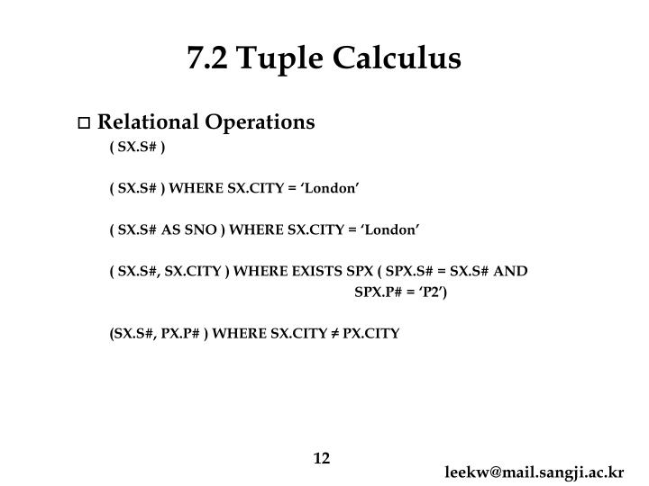 7.2 Tuple Calculus