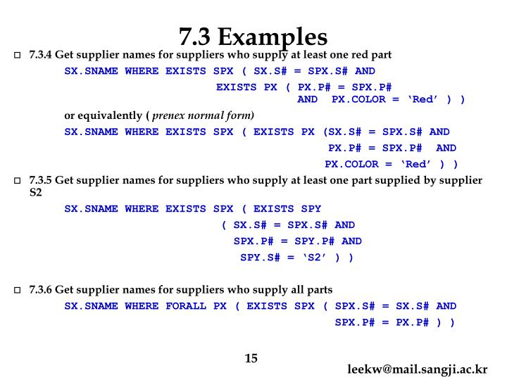 7.3 Examples