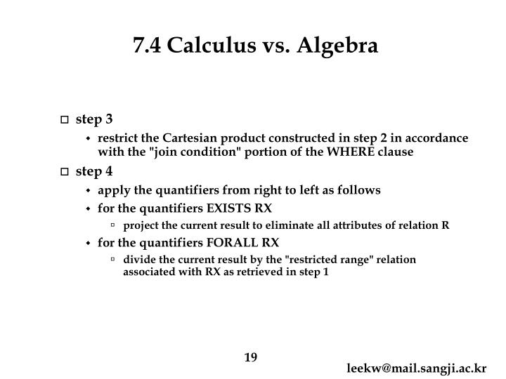 7.4 Calculus vs. Algebra