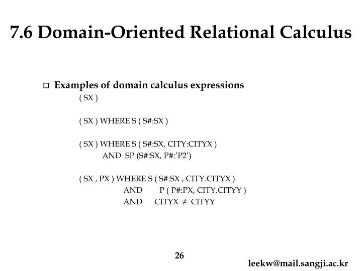 7.6 Domain-Oriented Relational Calculus