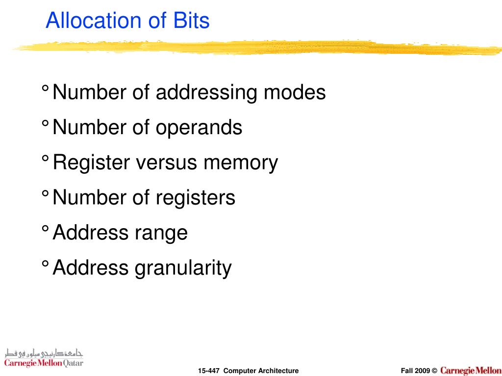 Allocation of Bits