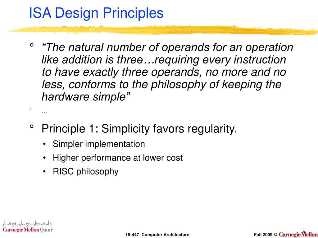 ISA Design Principles