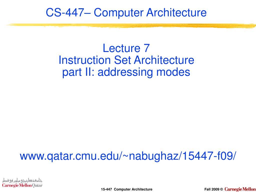 CS-447– Computer Architecture