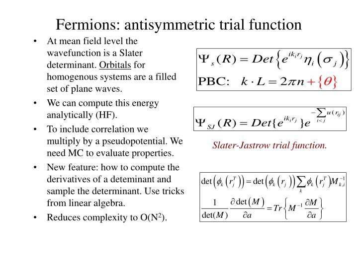Fermions: antisymmetric trial function