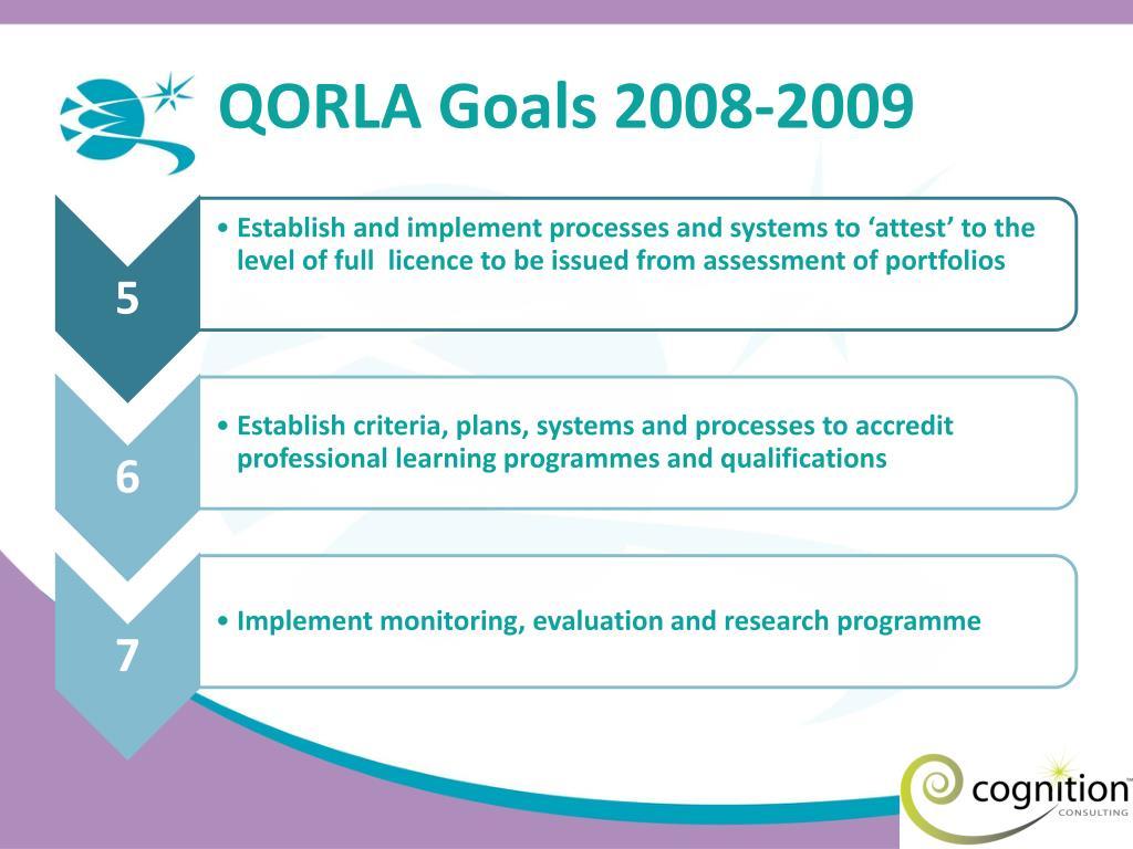 QORLA Goals 2008-2009