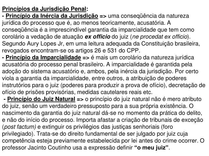 Princípios da Jurisdição Penal