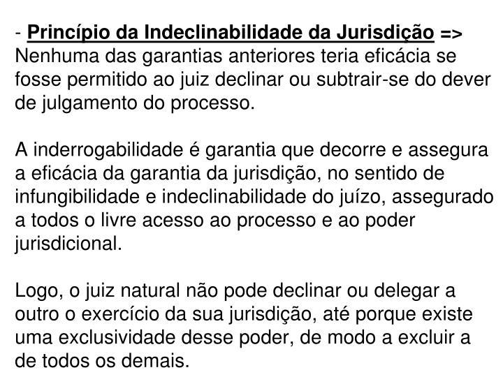 Princípio da Indeclinabilidade da Jurisdição