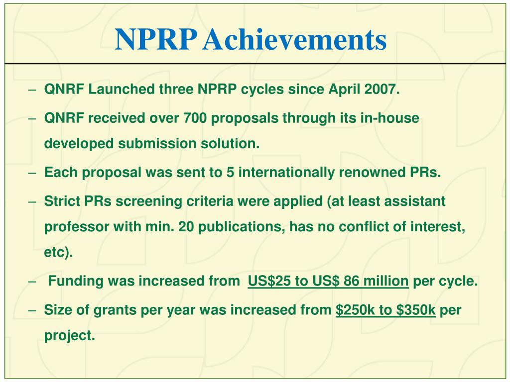 NPRP Achievements