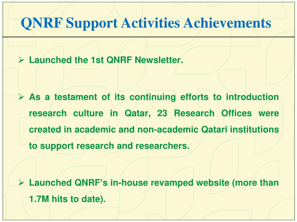 QNRF Support Activities Achievements