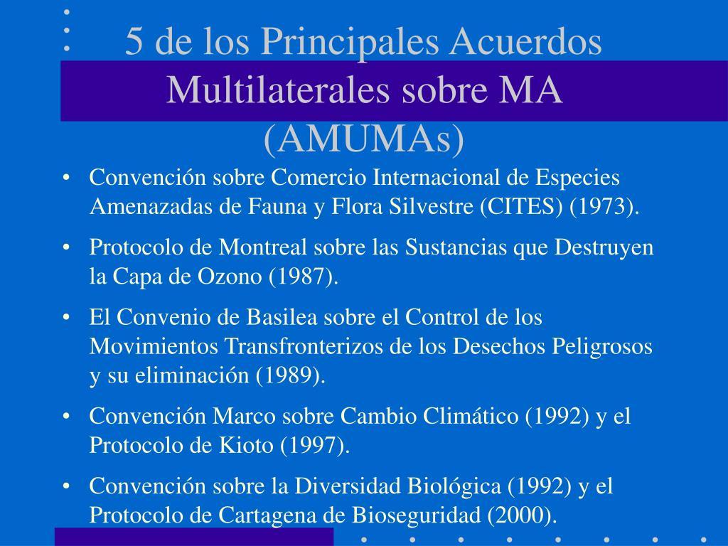 5 de los Principales Acuerdos Multilaterales sobre MA (AMUMAs)