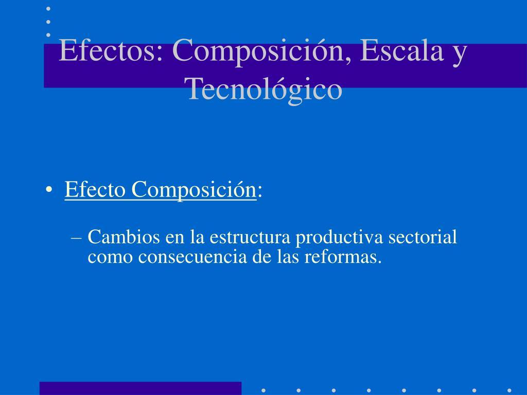 Efectos: Composición, Escala y Tecnológico